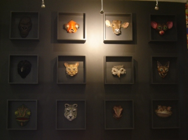 Animal mask mural in Little Theatre