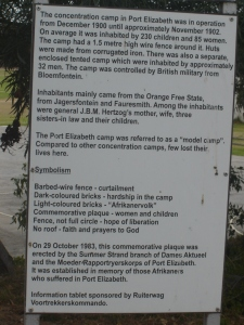 Anglo-Boer War Concentration Camp details